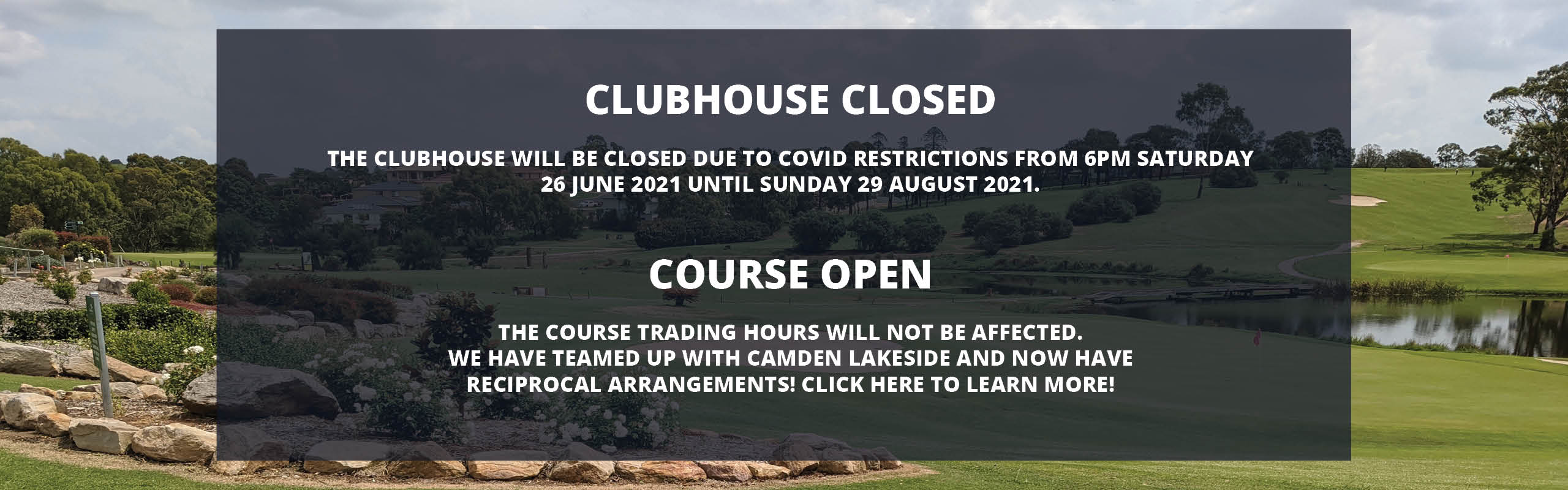 Clubhouse closed course open recipical deal home banner